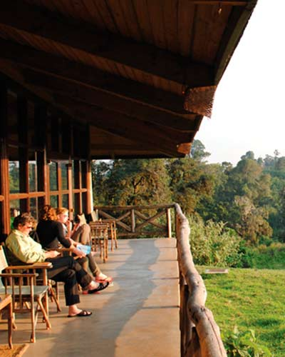 Visitors enjoying a view from the lodge
